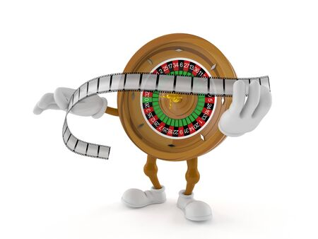 Roulette character holding film strip isolated on white background. 3d illustration