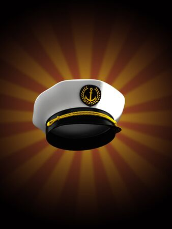 Captains hat on rays background. 3d illustration