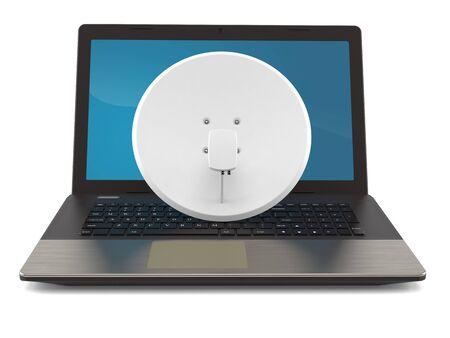 Satellite dish with laptop isolated on white background. 3d illustration Imagens