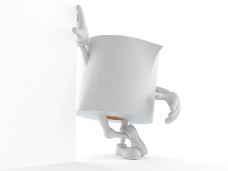 Toilet paper character leaning on wall isolated on white background. 3d illustration