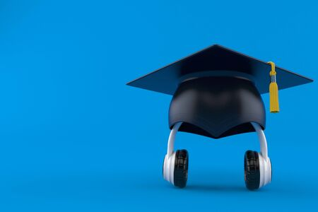 Headphones with mortarboard isolated on blue background. 3d illustration 写真素材 - 129519982