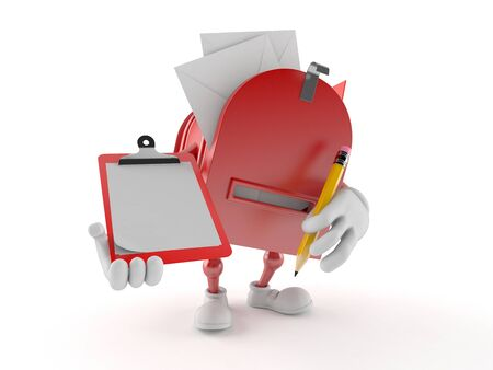 Mailbox character holding clipboard and pencil isolated on white background. 3d illustration 写真素材