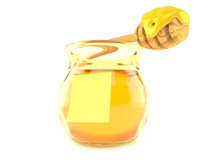 Honey jar with blank yellow sticker isolated on white background. 3d illustration