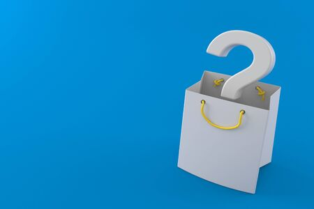 Question mark inside shopping bag isolated on blue background. 3d illustration Stockfoto