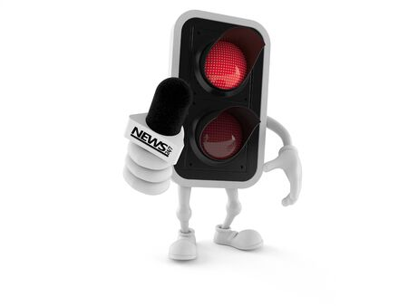 Red traffic light character holding interview microphone isolated on white background. 3d illustration