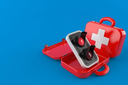 Red traffic light inside first aid kit isolated on blue background. 3d illustration Stockfoto