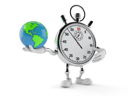 Stopwatch character holding world globe isolated on white background. 3d illustration Stockfoto