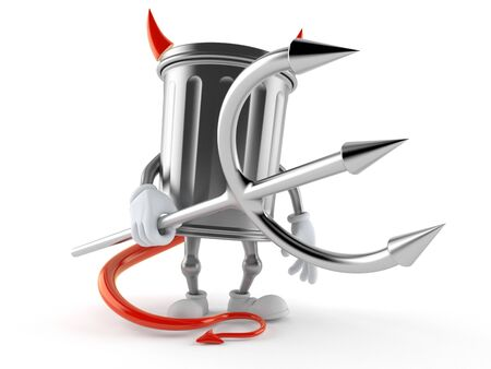 Trash can character with devil horns and pitchfork. 3d illustration Stockfoto