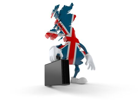 UK character holding briefcase isolated on white background. 3d illustration