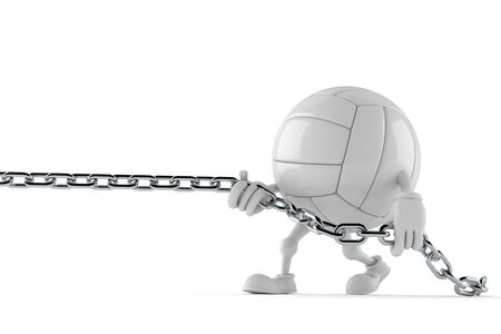 Volley ball character pulling chain isolated on white background. 3d illustration Imagens