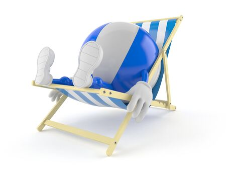 Beach ball character lying on deck chair isolated on white background. 3d illustration Reklamní fotografie