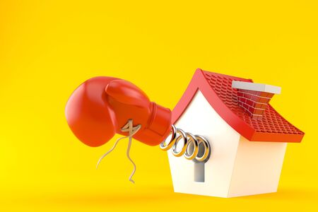 Cartoon house with boxing glove isolated on orange background. 3d illustration