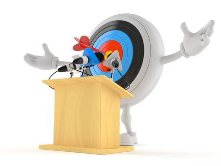 Bull's eye character gives a presentation isolated on white background. 3d illustration Stockfoto