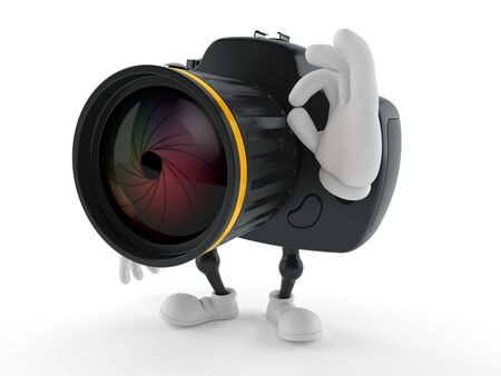 Camera character with ok gesture isolated on white background. 3d illustration Stock fotó - 129573894