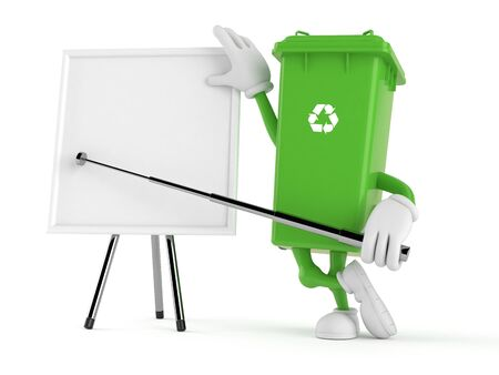Dustbin character with blank whiteboard isolated on white background. 3d illustration