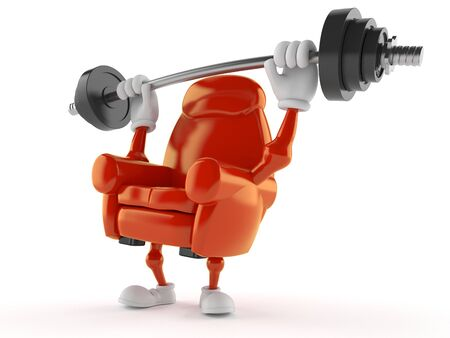 Armchair character lifting heavy barbell isolated on white background. 3d illustration Stockfoto