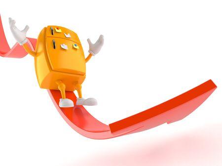 Fridge character sliding on red arrow isolated on white background. 3d illustration 写真素材