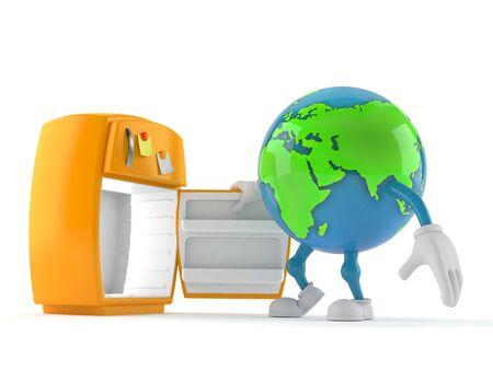 World globe character with open fridge isolated on white background. 3d illustration Reklamní fotografie