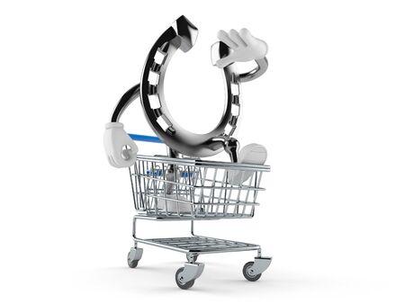 Horseshoe character inside shopping cart isolated on white background. 3d illustration Imagens