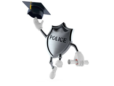Police badge character throwing mortar board isolated on white background. 3d illustration Stock fotó