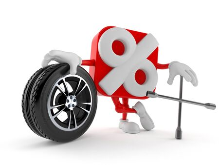 Percent character with car wheel and spanner isolated on white background. 3d illustration
