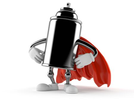 Spray can character with hero cape isolated on white background. 3d illustration Imagens - 129825743