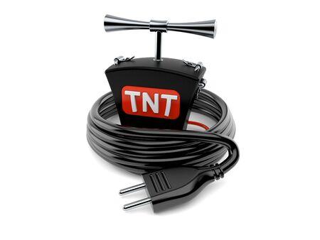 TNT detonator with electric plug isolated on white background. 3d illustration