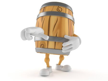Cask character pointing finger isolated on white background. 3d illustration Foto de archivo