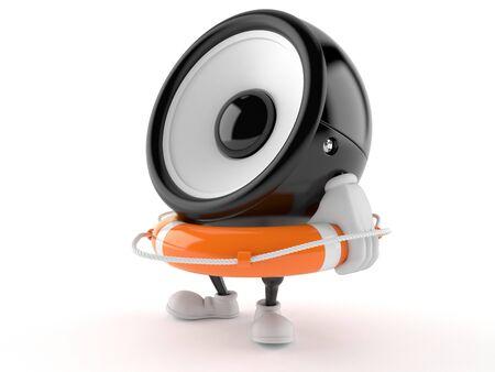 Speaker character holding life buoy isolated on white background. 3d illustration 스톡 콘텐츠