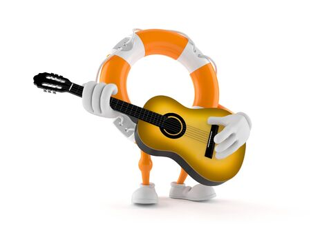 Life buoy character playing guitar isolated on white background. 3d illustration 스톡 콘텐츠