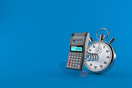 Calculator with stopwatch isolated on blue background. 3d illustration Stock fotó