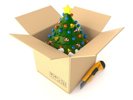 Christmas tree inside cardboard box isolated on white background. 3d illustration
