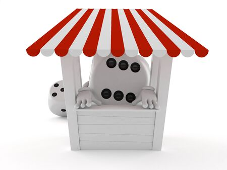 Dice character with stall isolated on white background. 3d illustration Фото со стока