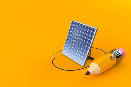 Photovoltaic panel with pencil isolated on orange background. 3d illustration