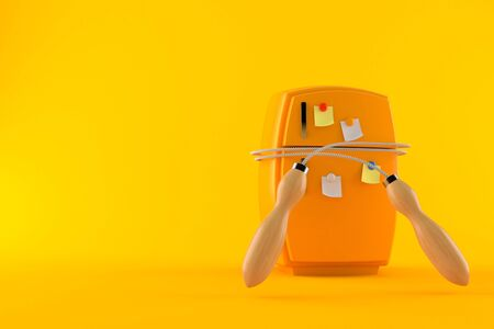 Fridge with jumping rope isolated on orange background. 3d illustration