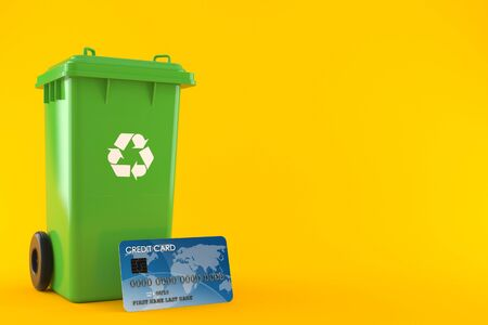 Dustbin with credit card isolated on orange background. 3d illustration Stock fotó - 129825783