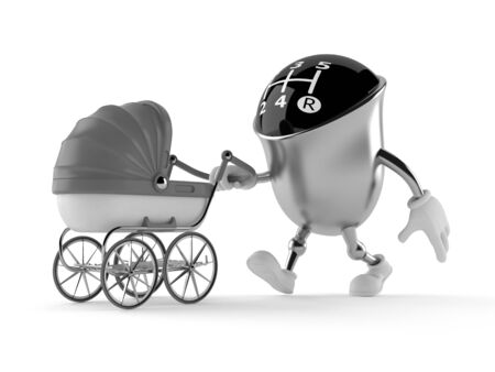 Gear knob character with baby stroller isolated on white background. 3d illustration