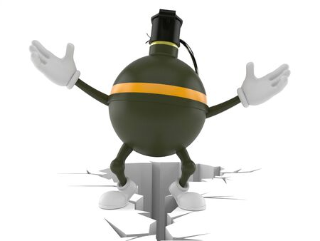 Hand grenade character standing on cracked ground isolated on white background. 3d illustration 写真素材