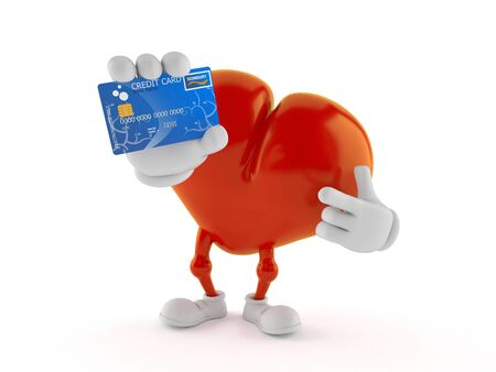 Heart character holding credit card isolated on white background. 3d illustration