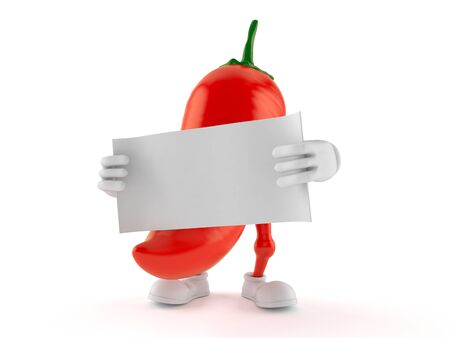 Hot paprika character holding blank sheet of paper isolated on white background. 3d illustration