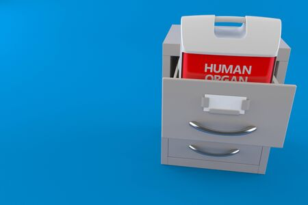 Cooler for human organ inside archive isolated on blue background. 3d illustration