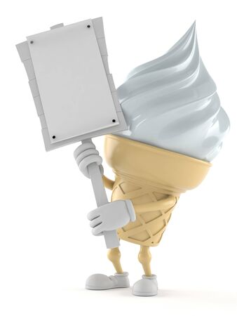 Ice cream character holding protest sign isolated on white background. 3d illustration