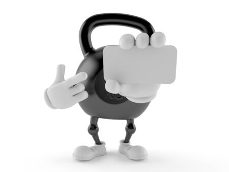 Kettlebell character holding blank business card isolated on white background. 3d illustration
