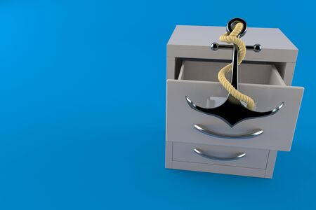 Anchor inside archive isolated on blue background. 3d illustration
