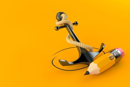 Anchor with pencil isolated on orange background. 3d illustration