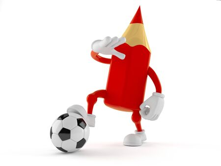 Colored pencil character with soccer ball isolated on white background. 3d illustration