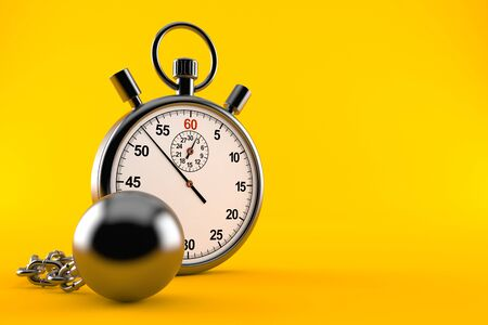 Stopwatch with prison ball isolated on orange background. 3d illustration 스톡 콘텐츠