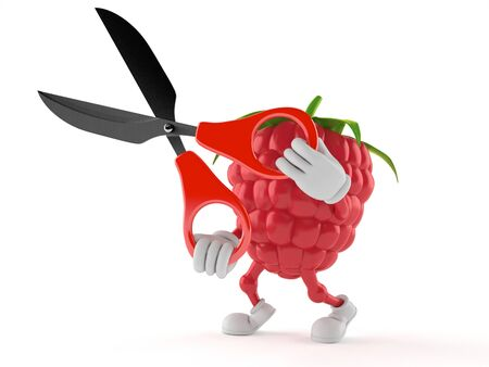 Raspberry character holding scissors isolated on white background. 3d illustration