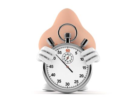 Nose character with stopwatch isolated on white background. 3d illustration
