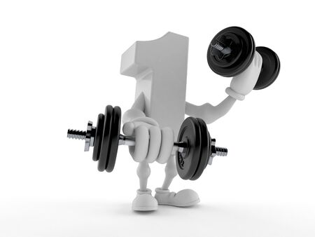 Number one character with dumbbells isolated on white background. 3d illustration